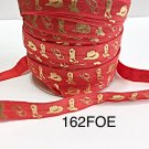 "5 yard - 5/8"" Gold Gold Cowboy Boot and Hat on Red Fold Over Elastic"