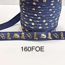"5 yard - 5/8"" Gold Gold Cowboy Boot and Hat on Dark Blue Fold Over Elastic"