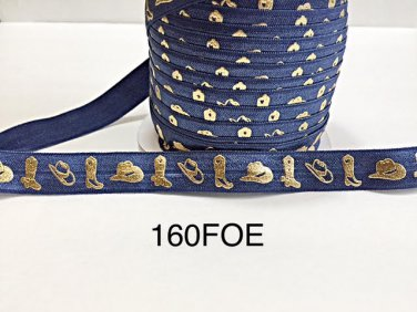 """5 yard - 5/8"""" Gold Gold Cowboy Boot and Hat on Dark Blue Fold Over Elastic"""