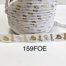 """5 yard - 5/8"""" Gold Gold Cowboy Boot and Hat on White Fold Over Elastic"""