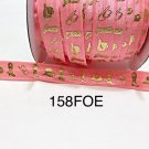 "5 yard - 5/8"" Gold Gold Cowboy Boot and Hat on Coral Fold Over Elastic"
