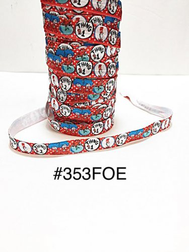 """5 yard - 5/8"""" Blue Cat In The Hat with Thing 1 and 2 Red Fold Over Elastic"""