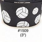 "5 yard - 3"" Volley Ball Sport on Black Jumbo Grosgrain Ribbon"
