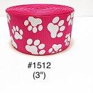 "5 yard - 3"" Glitter Dog Paw Jumbo Hot Pink Grosgrain Ribbon Hair Bow Cheer Bow"