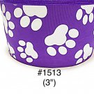 "5 yard - 3"" Glitter Dog Paw Jumbo Purple Grosgrain Ribbon"