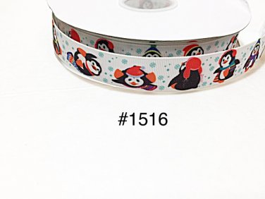 "5 yard -  7/8"" Christmas Penguin wearing Santa Hat with Snowflake motif on White Grosgrain Ribbon"