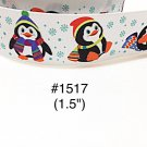 "5 yard - 1.5"" Christmas Penguin wearing Santa Hat with Snowflake Motif on White Grosgrain Ribbon"