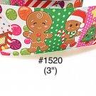 "5 yd -  3"" Christmas Gingerbread Boy & Girl, House, Candy & Christmas Tree Jumbo Grosgrain Ribbon"