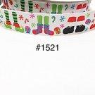 "5 yard - 1"" Christmas Santa & Elf Foot, Presents and Snowflake White Grosgrain Ribbon"