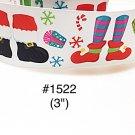 "5 yard - 3"" Christmas Santa Foot, Elf with Snowflake and Presents Motif White Jumbo Grosgrain Ribbon"