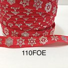 "5 yard - 5/8"" Christmas Silver Snowflake on Red Fold Over Elastic"