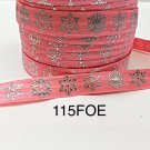 "5 yard - 5/8"" Christmas Silver Foil Snowflake on Coral Fold Over Elastic"