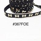 "5 yard - 5/8"" Gold Bow on Black Fold Over Elastic Headband Hair Accessories"