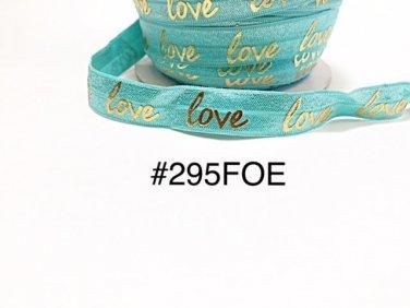 "5 yard - 5/8"" Valentine Gold Love on Aqua Blue Fold Over Elastic Headband Hair Accessories"