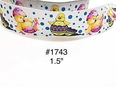 "5 yd - 1.5"" Easter Chick on Egg with Polka Dot on White Grosgrain Ribbon"
