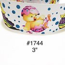 "5 yd - 3"" Easter Chick on Egg with Polka Dot White Jumbo Grosgrain Ribbon"