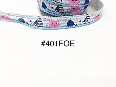 """5 yard - 5/8"""" Summer Ocean Creature Whale, Octopus, Sailboat and Star Fold Over Elastic"""