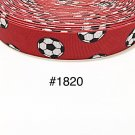 "5 yard - 7/8"" Sport Soccer Ball on Red Grosgrain Ribbon"