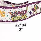 "5 yd -  3"" Mardi Gras Fleur De Lis with Star Motif On White Jumbo Grosgrain Ribbon"