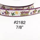 "5 yard - 7/8"" Mardi Gras Fleur De Lis with Star Motif On WHite Grosgrain Ribbon  Craft Supply"