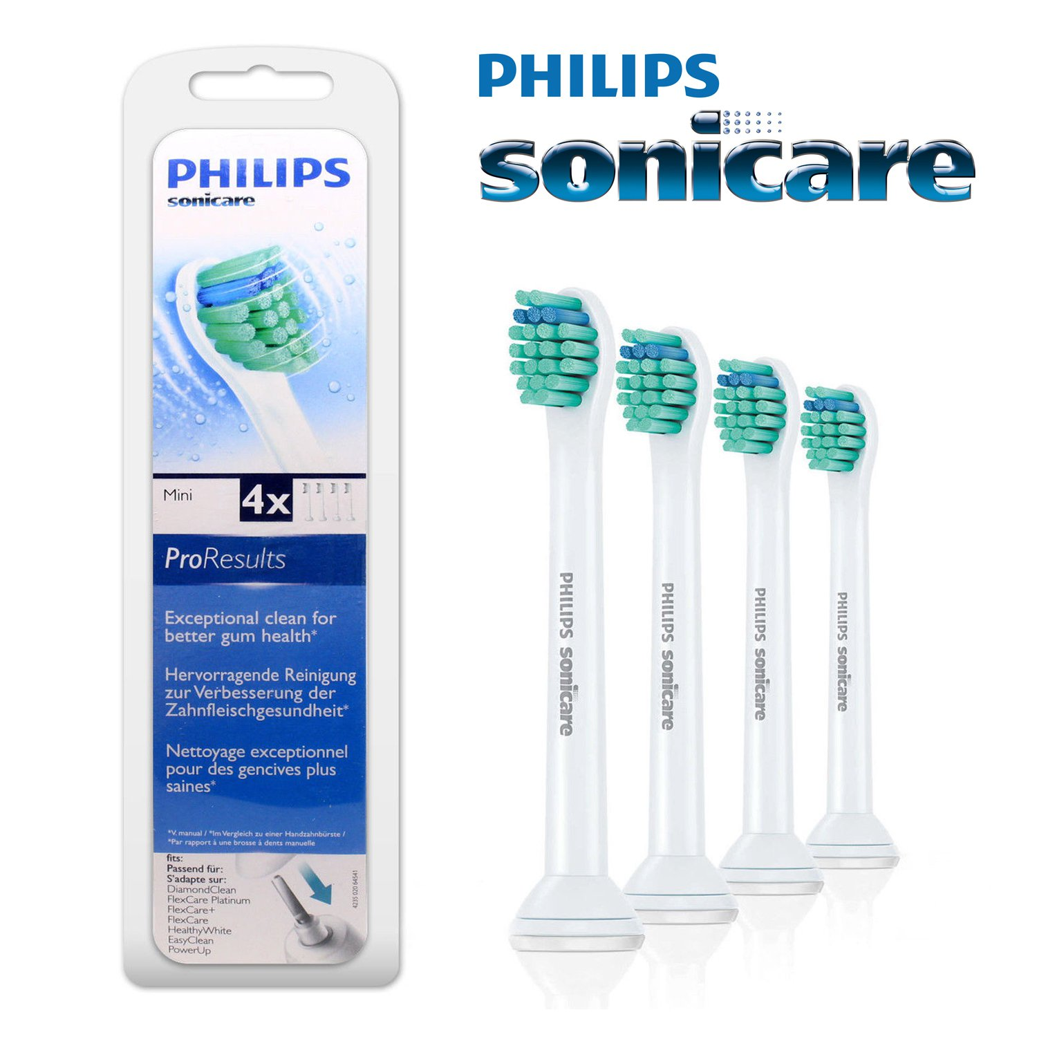4 x Philips Sonicare ProResults Mini Electric Toothbrush Heads HX6024