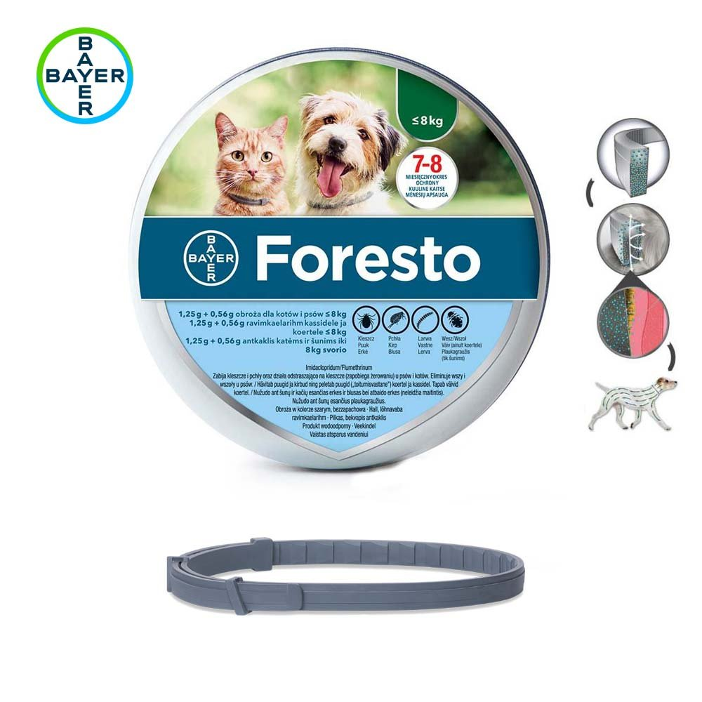 Bayer Foresto Flea & Tick Collar for Small Dogs & Cats under 18lbs (8kg) 38cm