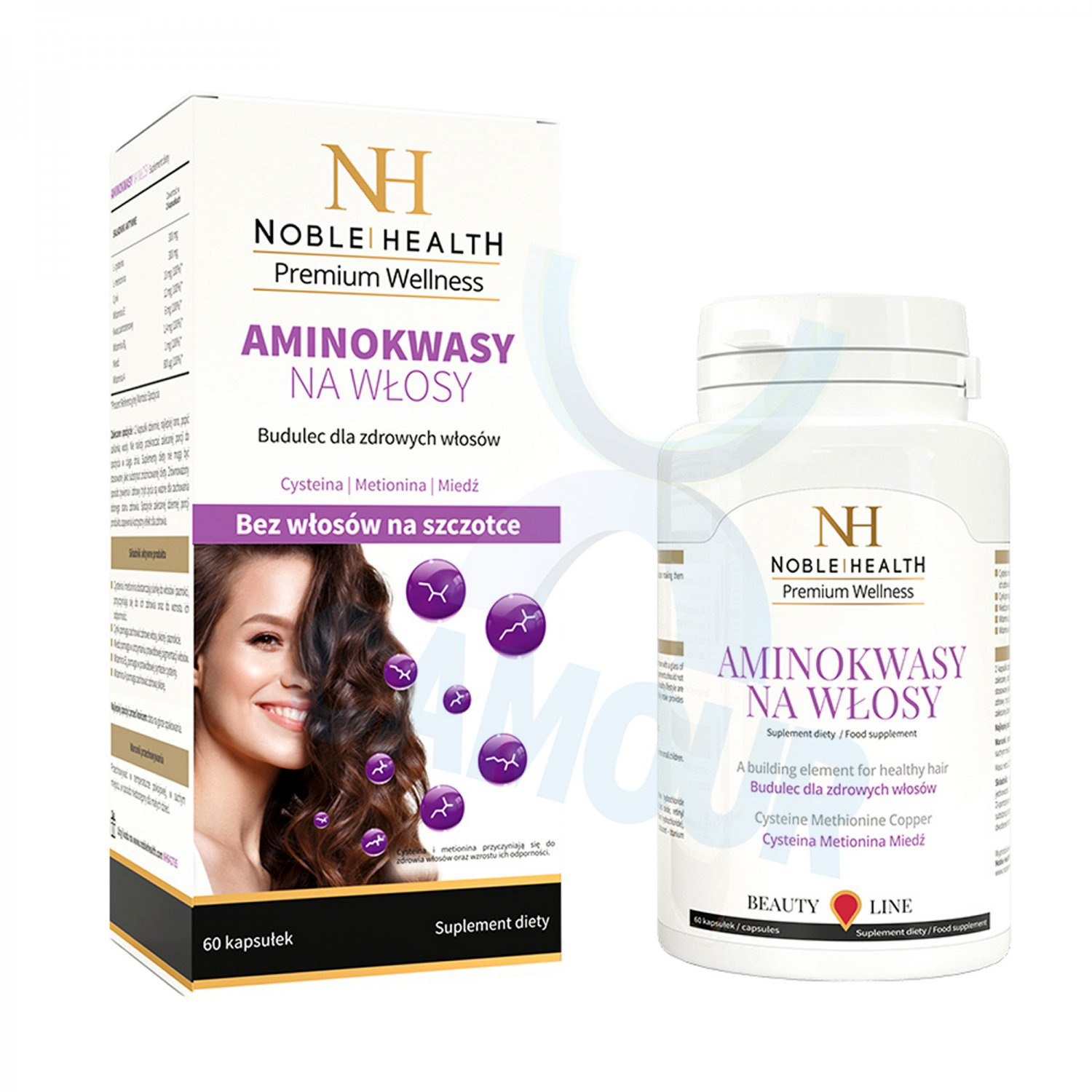 Noble Health Amino Acids for Hair Food Supplement Vitamin A E B6 Zinc Aminokwasy
