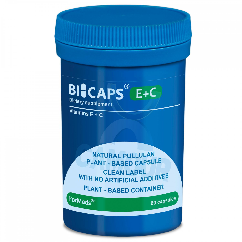 Bicaps Vitamin E + C Dietary Vegan Vegetarian Friendly Food Supplement 60 Caps