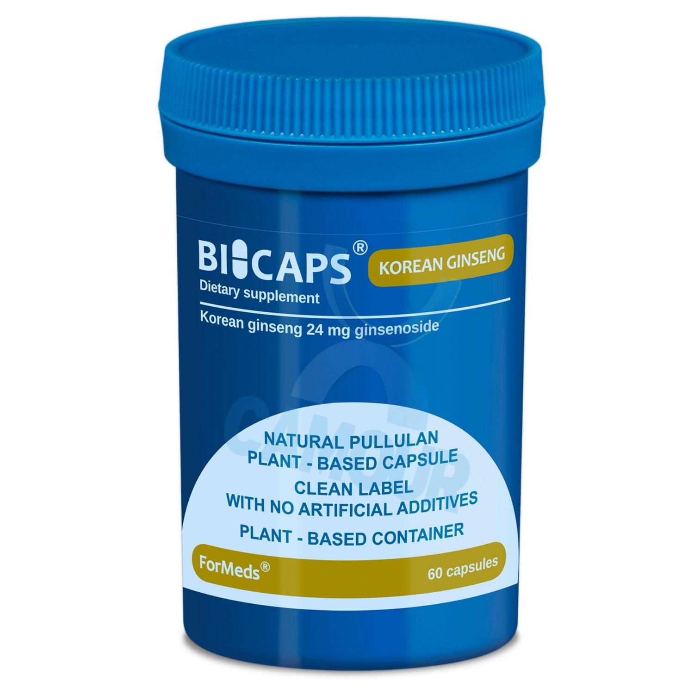 Bicaps Korean Ginseng Extract 24mg Dietary Vegan Food Supplement 60 Capsules