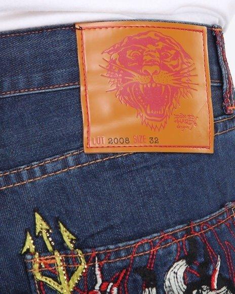 42a6f81cb61 Ed Hardy Dragon Vs. Mermaid Embroidered Denim Jeans NWT Msrp 175 SZ 38 34