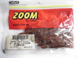 "ZOOM Bait Company Super Salt 4"" Mini Lizards Soft Baits Bass Lures Pumpkin NEW"