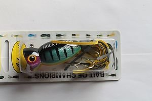Arbogast Hula Popper Wounded Perch 1/2oz Lure Bait Blak Yelow Skirt Topwater NEW