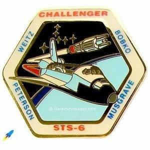 Vntge NASA Challenger Space Shuttle STS-6 1983 WEITZ BOBKO PETERSON MUSGRAVE PIN