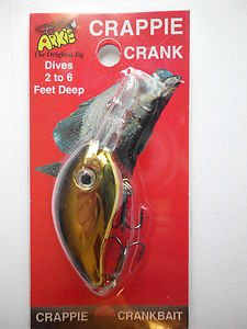 Arkie Crappie Crank-Bait Lure Bait Black Gold Shad Bass Pan Fishing Lure NIP