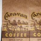 Old Caravan Coffee Bag Sack Camels Advertising New Old Stock Very Cool LOOK!
