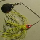 1/4oz Spinner-Bait Red Head With Yellow White Skirt Bass Fishing Lure Tackle NEW
