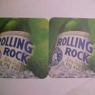 2 Rolling Rock Beer Pale Ale Bar Coasters Mats Collectible New Old Stock