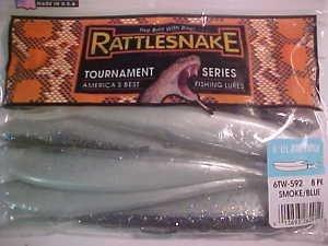 "Rattlesnake Lures 6"" Jerk Twitch Shads Baits Smoke Blue Bass Fishing Tackle New"