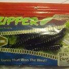 "Zipper Worm Grubs Company Baits Lures 3.5"" Blk 10 NiP"