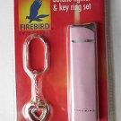 Colibri Firebird Refillable Butane Lighter Key Ring Chain Rinestones Pink NEW