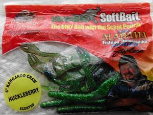 "Kangaroo Soft Baits Lures 6"" Green Crawdads Scented Bass Fishing Bait 8pk NEW"