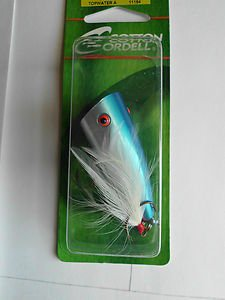 """New Cotton Cordell Popper 2"""" Bait Lure Pearl Blue Red Eye Great-Bass Bait Tackle"""