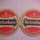 """Vintage Heineken Beer Ale Pilsner 4"""" Bar Pub Old Coaster Mat LOOK Nice Free Shp"""