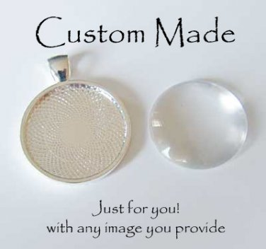 Custom Round Glass-Domed Pendant w/ Ball Necklace