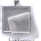 Custom Square Glass-Domed Pendant w/ Ball Necklace