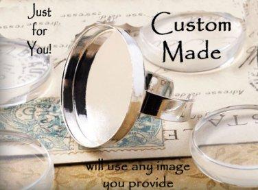 Custom Round Glass-Domed Silvertone Ring- ADJUSTABLE