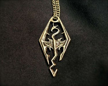 Dragonborn Dovahkiin Skyrim Pendant of the Imperial Legion Necklace (Gold Color)
