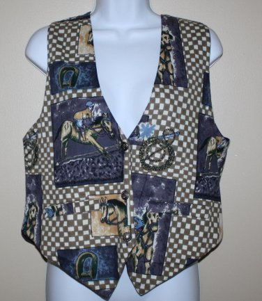 Vintage Blue Horse Vest M At Last Sportswear Co.