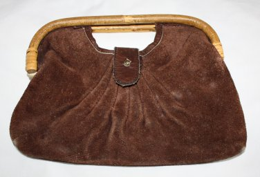Vintage Brown Leather Suede Clutch Purse 1970's