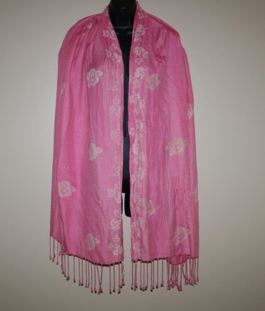 Vintage Wrap Shawl Scarf Pink with  Hand Painted Roses Shabby Cottage Chic